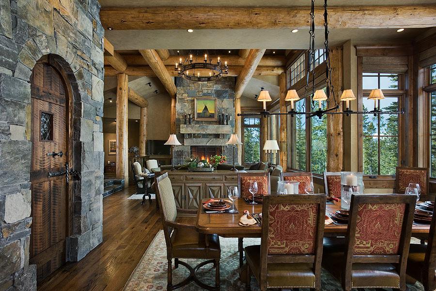 Interior, horizontal, dining room looking into living room with fireplace, Geisler residence, Big Sky, Montana, Reid Smith Architecture; Big Sky Build; Design Associates